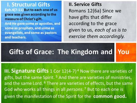 What's Your Message? Gifts of Grace: The Kingdom and You I. Structural Gifts Eph.4(7-11) But to each one of us grace was given according to the measure.
