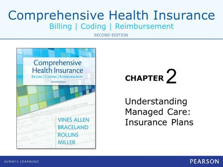 Comprehensive Health Insurance Billing | Coding | Reimbursement CHAPTER SECOND EDITION Understanding Managed Care: Insurance Plans 2.