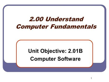 1 2.00 Understand Computer Fundamentals Unit Objective: 2.01B Computer Software.