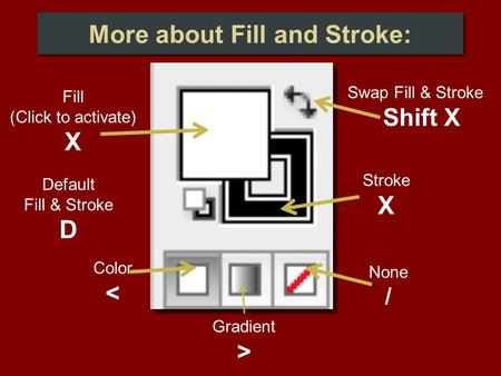 Default Fill & Stroke D Swap Fill & Stroke Shift X None / Gradient > Color < Stroke X Fill (Click to activate) X More about Fill and Stroke: