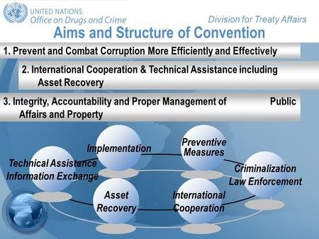 Division for Treaty Affairs Aims and Structure of Convention Preventive Measures International Cooperation Asset Recovery Technical Assistance Information.