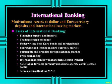 Markets and international banking