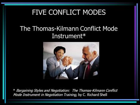 FIVE CONFLICT MODES The Thomas-Kilmann Conflict Mode Instrument* * Bargaining Styles and Negotiation: The Thomas-Kilmann Conflict Mode Instrument in Negotiation.