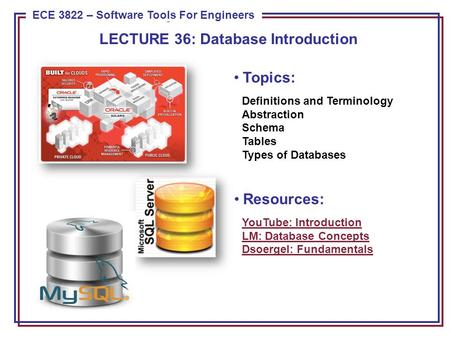 ECE 8443 – Pattern Recognition ECE 3822 – Software Tools For Engineers Topics: Definitions and Terminology Abstraction Schema Tables Types of Databases.