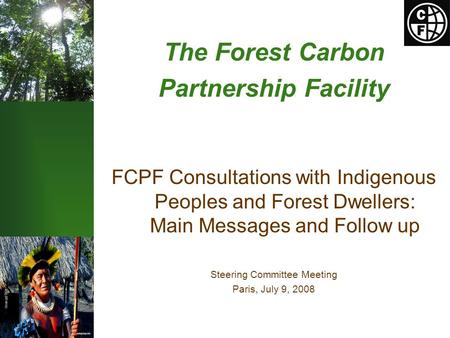 The Forest Carbon Partnership Facility FCPF Consultations with Indigenous Peoples and Forest Dwellers: Main Messages and Follow up Steering Committee Meeting.