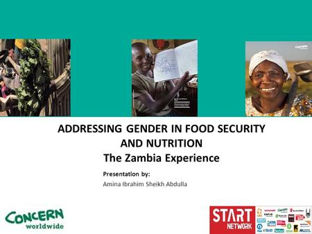 Presentation by: Amina Ibrahim Sheikh Abdulla ADDRESSING GENDER IN FOOD SECURITY AND NUTRITION The Zambia Experience.