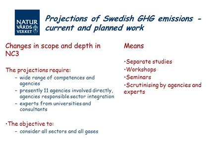 Projections of Swedish GHG emissions - current and planned work Changes in scope and depth in NC3 The projections require: –wide range of competences and.