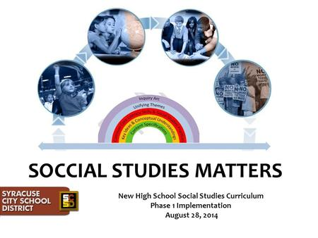 SOCCIAL STUDIES MATTERS New High School Social Studies Curriculum Phase 1 Implementation August 28, 2014.