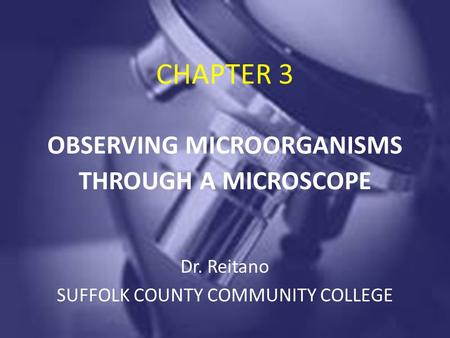 CHAPTER 3 OBSERVING MICROORGANISMS THROUGH A MICROSCOPE Dr. Reitano SUFFOLK COUNTY COMMUNITY COLLEGE.
