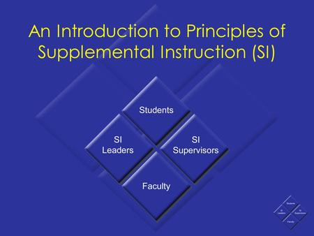 An Introduction to Principles of Supplemental Instruction (SI)