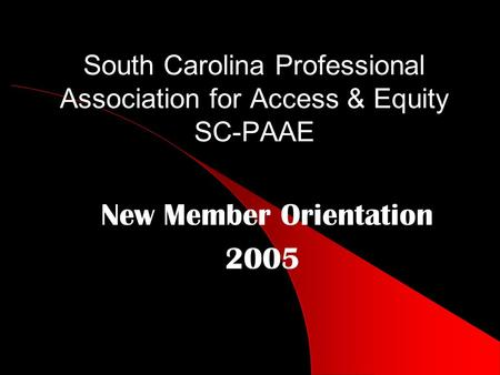South Carolina Professional Association for Access & Equity SC-PAAE New Member Orientation 2005.