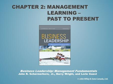 Chapter 2: Management learning – Past to present