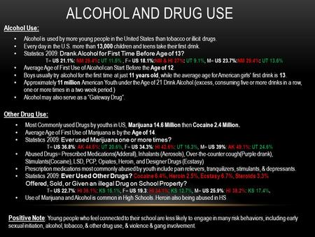 ALCOHOL AND DRUG USE Alcohol Use: Alcohol is used by more young people in the United States than tobacco or illicit drugs. Every day in the U.S. more than.