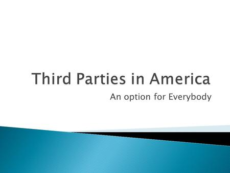 An option for Everybody.  Third Parties in the US are Secondary Political Parties  Historically, the US has a Two Party system ◦ Some say the Electoral.