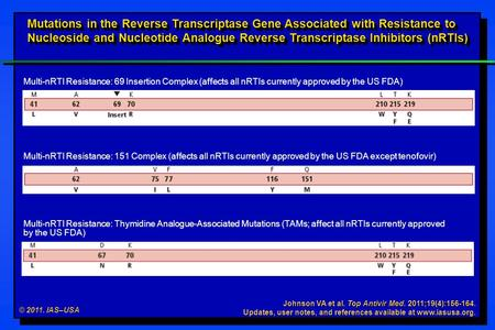 © 2011. IAS–USA Johnson VA et al. Top Antivir Med. 2011;19(4):156-164. Updates, user notes, and references available at www.iasusa.org. Mutations in the.