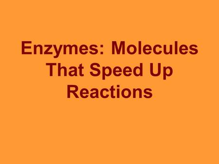 Enzymes: Molecules That Speed Up Reactions. What are Enzymes Enzymes are proteins that speed up the rate of all reactions. Also know as Biological Catalysts.