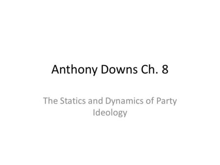 The Statics and Dynamics of Party Ideology