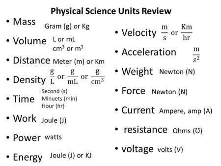 Physical Science Units Review