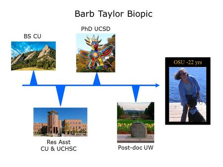 OSU -22 yrs Barb Taylor Biopic BS CU PhD UCSD Res Asst CU & UCHSC Post-doc UW.