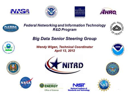 Federal Networking and Information Technology R&D Program Big Data Senior Steering Group Wendy Wigen, Technical Coordinator April 13, 2012.