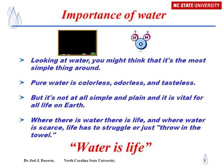 "Dr. Joel J. Ducoste, North Carolina State University, 1 Importance of water ""Water is life"" Looking at water, you might think that it's the most simple."