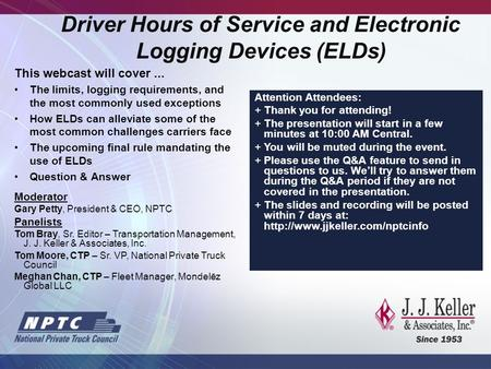Driver Hours of Service and Electronic Logging Devices (ELDs)