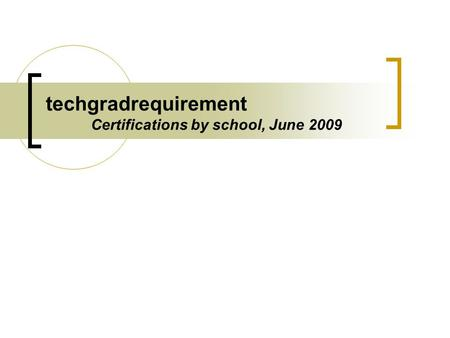 Techgradrequirement Certifications by school, June 2009.