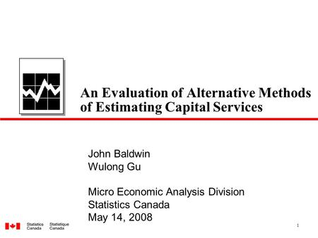 An Evaluation of Alternative Methods of Estimating Capital Services
