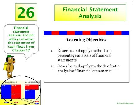 ©CourseCollege.com 1 26 Financial Statement Analysis Financial statement analysis should always involve the statement of cash flows from Chapter 17 Learning.