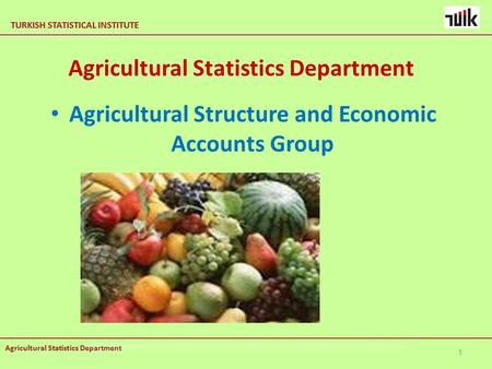 TURKISH STATISTICAL INSTITUTE Agricultural Statistics Department TURKISH STATISTICAL INSTITUTE Agricultural Statistics Department Agricultural Structure.
