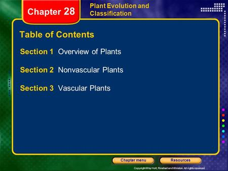 Copyright © by Holt, Rinehart and Winston. All rights reserved. ResourcesChapter menu Plant Evolution and Classification Chapter 28 Table of Contents Section.