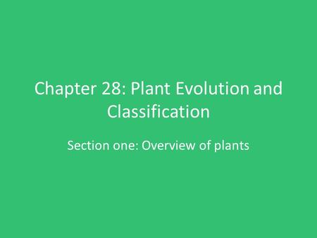 Chapter 28: Plant Evolution and Classification