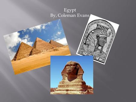 Egypt By, Coleman Evans. Agriculture- Cotton, Rice, Corn, Wheat, Cattle, And Water Buffalo Natural Resources-Oil, Natural Gas, Petroleum, and Limestone.