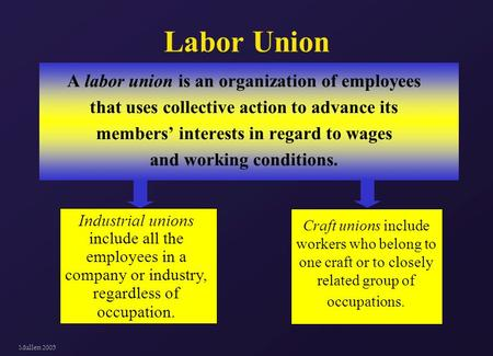 Mullen 2005 Labor Union A labor union is an organization of employees that uses collective action to advance its members' interests in regard to wages.