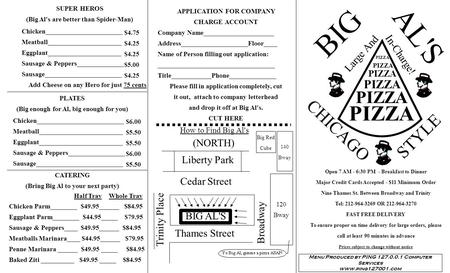 BIG AL'S CHICAGO STYLE Large And In-Charge! APPLICATION FOR COMPANY CHARGE ACCOUNT Company Name_____________________ Address____________________Floor____.