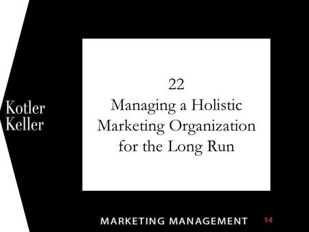 22 Managing a Holistic Marketing Organization for the Long Run 1.