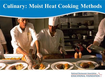 Culinary: Moist Heat Cooking Methods. Shallow Poaching Items are partially submerged in a liquid containing an acidic ingredient Liquid temperature ranges.