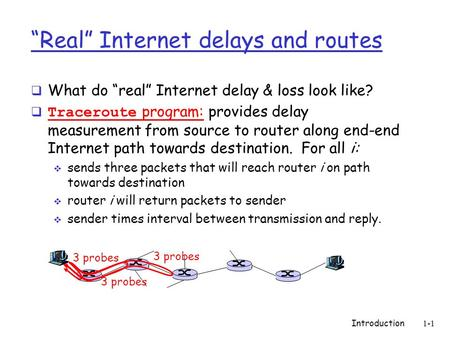 "Introduction 1-1 ""Real"" Internet delays and routes  What do ""real"" Internet delay & loss look like?  Traceroute program: provides delay measurement from."