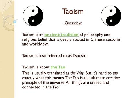 an overview of the philosophical and religious traditions of taoism in china Taoism encompasses both a taoist philosophical tradition (tao-chia) associated with the tao-te ching (lao-tzu) taoism wikipedia ancient china religion index.