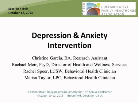 Depression & Anxiety Intervention Christine Garcia, BA, Research Assistant Rachael Meir, PsyD, Director of Health and Wellness Services Rachel Speer, LCSW,Behavioral.