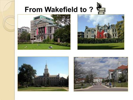 From Wakefield to ?. Parents: Help your students get started TESTING: SAT/ACT/TOEFL COLLEGE PROCESS TRANSCRIPTS FINANCIAL AID/FAFSA.ED.GOV TIMELINE NAVIANCE.