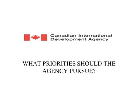 WHAT PRIORITIES SHOULD THE AGENCY PURSUE?. WHAT IS CIDA? The Canadian International Development Agency (CIDA) is Canada's lead agency for development.