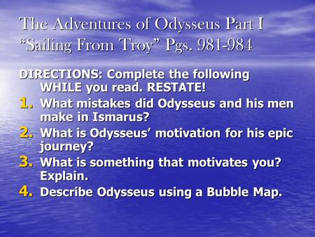 "The Adventures of Odysseus Part I ""Sailing From Troy"" Pgs"