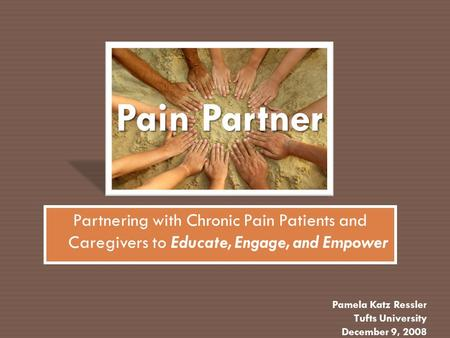 Pain Partner Partnering with Chronic Pain Patients and Caregivers to Educate, Engage, and Empower Pamela Katz Ressler Tufts University December 9, 2008.
