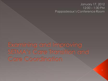 1. 2 Supervising Partner for Care Transitions and Care Coordination.