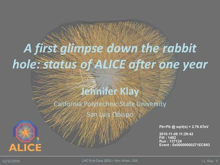 12/12/2010 LHC First Data 2010 – Ann Arbor, USA J.L. Klay 1 A first glimpse down the rabbit hole: status of ALICE after one year Jennifer Klay California.