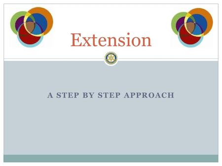 A STEP BY STEP APPROACH Extension. Build it and they will come Establish the Extension Committee Start having regular meetings Spread the word Opportunities.