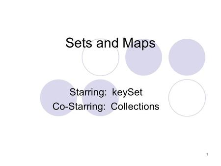 1 Sets and Maps Starring: keySet Co-Starring: Collections.