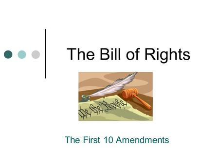 The Bill of Rights The First 10 Amendments. Amendment 1 Protects 5 freedoms Religion Assembly Press Petition Speech.