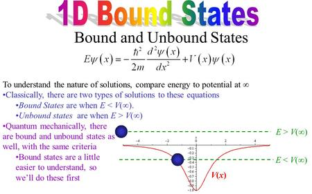 To understand the nature of solutions, compare energy to potential at  Classically, there are two types of solutions to these equations Bound States are.